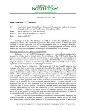 Primary view of object titled 'Open Letter to the UNT Community: 2011 Library Budget Status and Impacts - September 27, 2011'.