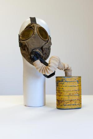 Primary view of object titled '[World War One Small Box Gas Mask]'.