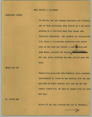 Primary view of object titled '[News Script: News Briefs; Accident]'.