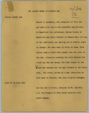 Primary view of object titled '[News Script: Two Escape Death in Crushed Car]'.