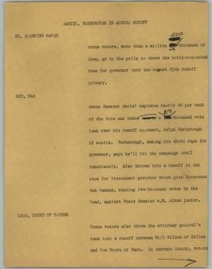 Primary view of object titled '[News Script: Daniel, Yarborough in August Runoff]'.