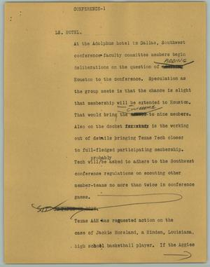 Primary view of object titled '[News Script: Conference]'.
