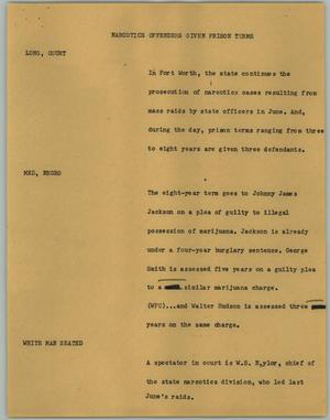 Primary view of object titled '[News Script: Narcotics Offenders Given Prison Terms]'.
