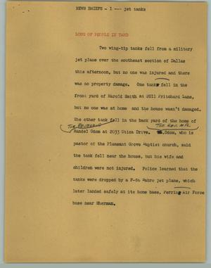 Primary view of object titled '[News Script: News Briefs; Jet Tanks; Fire; Westover Hills]'.