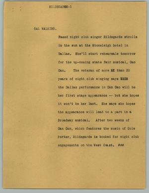Primary view of object titled '[News Script: Hildegarde]'.