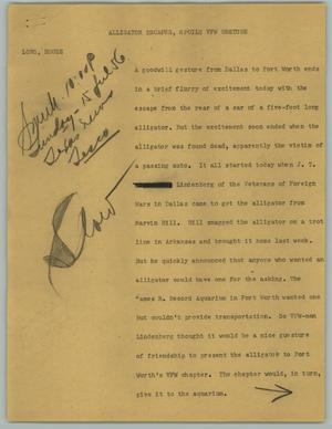 Primary view of object titled '[News Script: Alligator Escapes, Spoils VFW Gesture]'.