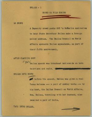 Primary view of object titled '[News Script: Dulles]'.