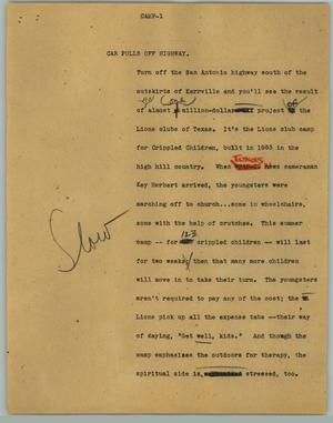 Primary view of object titled '[News Script: Camp]'.
