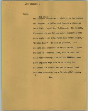 Primary view of object titled '[News Script: Ann Neyland]'.