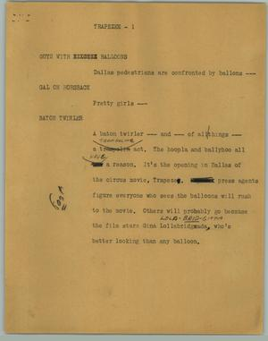 Primary view of object titled '[News Script: Trapezee]'.