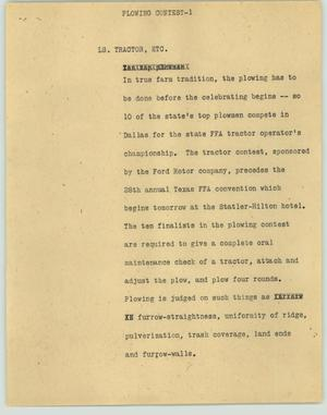 Primary view of object titled '[News Script: Plowing Contest]'.