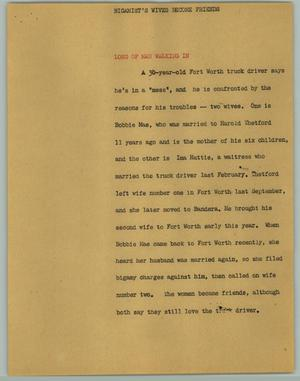 Primary view of object titled '[News Script: Bigamist's Wives Become Friends]'.