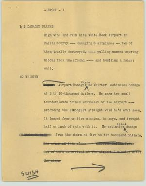 Primary view of object titled '[News Script: Airport; Barn]'.