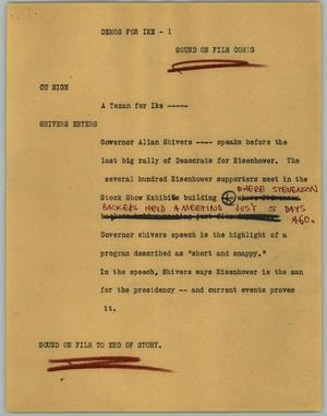 Primary view of object titled '[News Script: Demos for Ike]'.