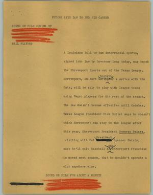 Primary view of object titled '[News Script: Peters Says Law to End His Career]'.