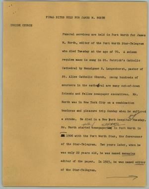 Primary view of object titled '[News Script: Final Rites Held for James M. North]'.