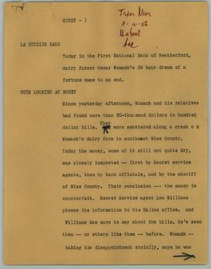 Primary view of object titled '[News Script: Money]'.