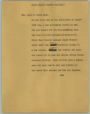 Primary view of object titled '[News Script: State Fair's Record Visitor]'.