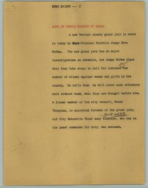 Primary view of object titled '[News Script: News Briefs; Jury]'.