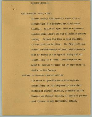 Primary view of object titled '[News Script: Commissioners]'.