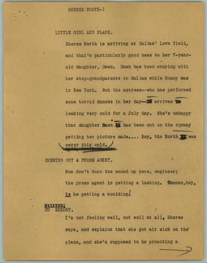 Primary view of object titled '[News Script: Sheree North]'.