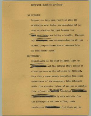 Primary view of object titled '[News Script: Newspaper Election Coverage]'.