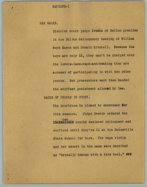 Primary view of object titled '[News Script: Rapists]'.