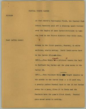 Primary view of object titled '[News Script: Paschal Upsets Carter]'.