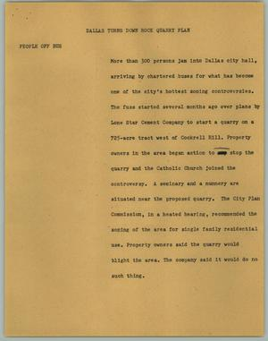 Primary view of object titled '[News Script: Dallas Turns Down Rock Quarry Plan]'.