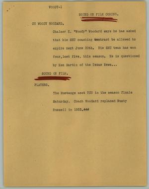Primary view of object titled '[News Script: Woody]'.