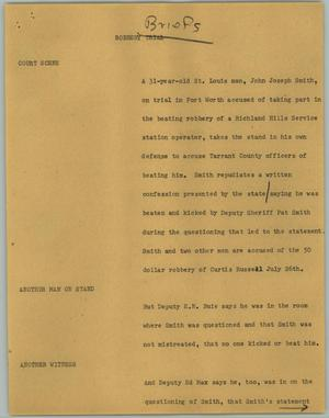 Primary view of object titled '[News Script: Briefs; Robbery Trial]'.