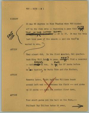Primary view of object titled '[News Script: TCU - Rice]'.