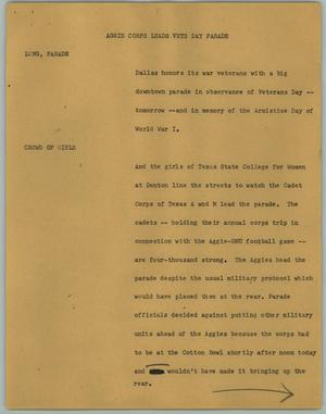 Primary view of object titled '[News Script: Aggie Corps Leads Vets Day Parade]'.