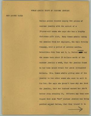 Primary view of object titled '[News Script: Woman Admits Theft of Costume Jewelry]'.