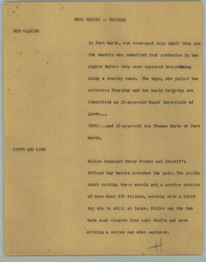 Primary view of object titled '[News Script: News Briefs; Robbers]'.
