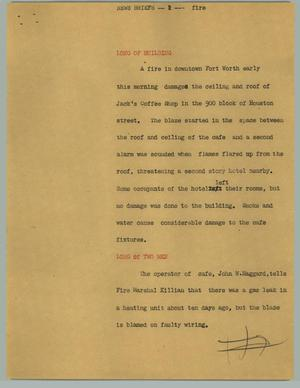 Primary view of object titled '[News Script: News Briefs; Fire]'.