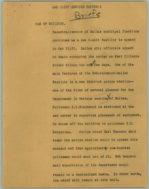 Primary view of object titled '[News Script: Oak Cliff Service Center]'.