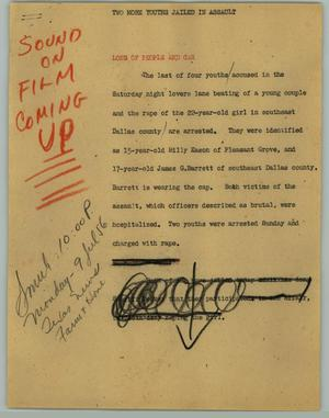 Primary view of object titled '[News Script: Two More Youths Jailed in Assault]'.