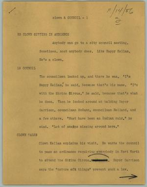 Primary view of object titled '[News Script: Clown & Council]'.