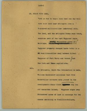 Primary view of object titled '[News Script: Land]'.