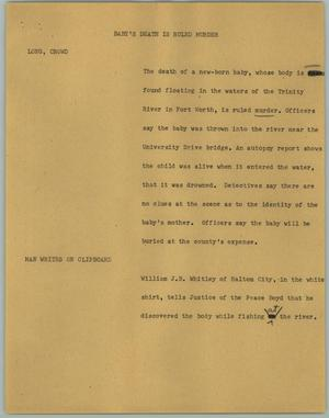 Primary view of object titled '[News Script: baby's Death is Ruled Murder]'.