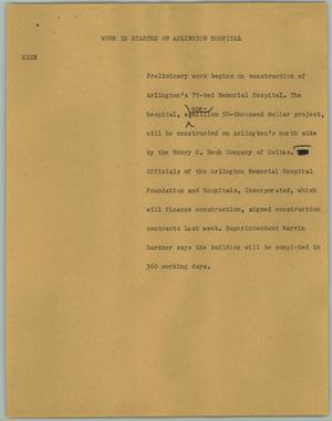 Primary view of object titled '[News Script: Work is Started on Arlington Hospital]'.