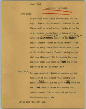 Primary view of object titled '[News Script: Shooting-1]'.