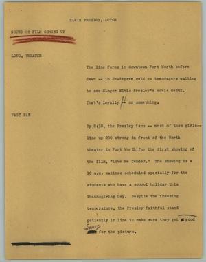 News Script: Elvis Presley, Actor] - Digital Library