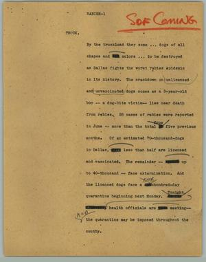 Primary view of object titled '[News Script: Rabies]'.