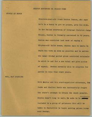Primary view of object titled '[News Script: Sexton Sentenced to Prison Term]'.