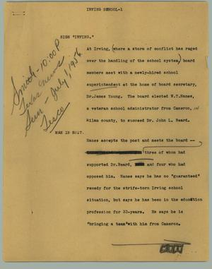 Primary view of object titled '[News Script: Irving School]'.