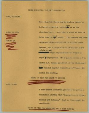 Primary view of object titled '[News Script: Negro ministers to fight segregation]'.