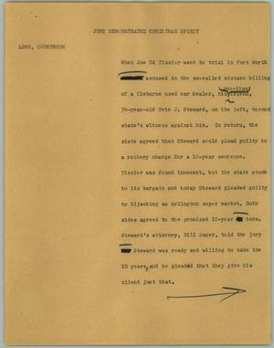 Primary view of object titled '[News Script: Jury Demonstrates Christmas Spirit]'.