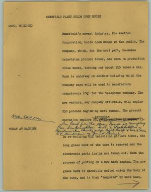 Primary view of object titled '[News Script: Mansfield Plant Holds Open House]'.